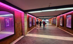 Mise en lumière de la station de métro République-Beaux arts à Lille.