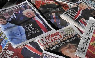 La une de journaux britanniques après l'investiture de Donald Trump, le 21 janvier 2017.