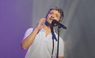 Le chanteur Grégoire le 10 février 2014, à l'Olympia, à Paris.