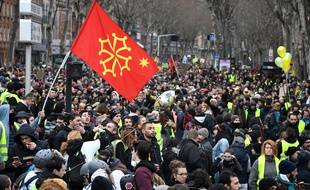 Lors d'une manifestation des syndicale à Toulouse.