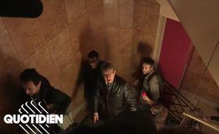 Jean-Luc Mélenchon qui arrive au siège de La France insoumise, le 18 octobre 2018. L'image provient d'une capture d'écran d'un sujet diffusé le 10 septembre 2019 dans «Quotidien».