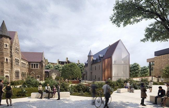 Les jardins du nouveau musée Dobrée, et l'extension vitrée du manoir