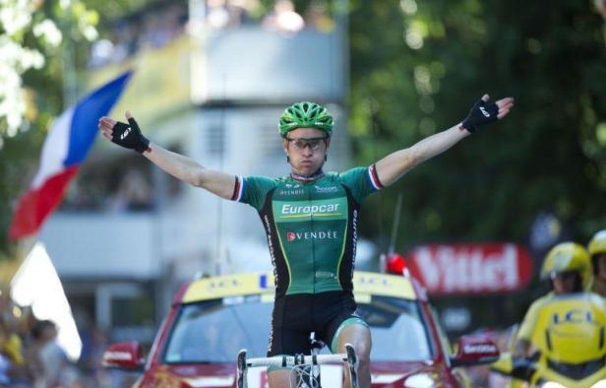 Le Français Thomas Voeckler (Europcar) a remporté la 16e étape du Tour de France, mercredi, à Luchon, après une longue échappée dans les grands cols pyrénéens. – Lionel Bonaventure afp.com