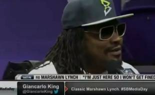 Le joueur de football américain Marshawn Lynch en conférence de presse, le 27 janvier 2015.