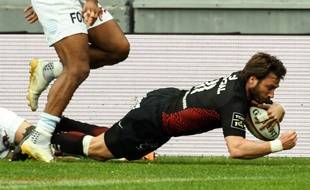 Maxime Médard, auteur du troisième essai du Stade Toulousain face au Racing 92, le 15 avril 2018 au stade Ernest-Wallon de Toulouse.