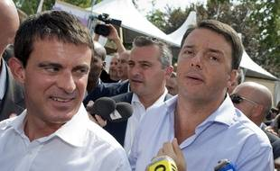 Manuel Valls et le président du conseil italien Matteo Renzi à Bologne en septembre 2014.