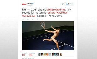 Capture d'écran d'un tweet d'ESPN montrant une photo de Stan Wawrinka nu pour son «Body Issue».