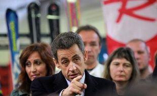 Nicolas Sarkozy en déplacement à Sallanches (Haute-Savoie) le 13 décembre 2011.