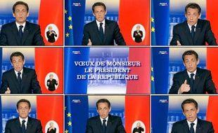Capture d'écran des voeux de Nicolas Sarkozy le 31 décembre 2009.