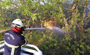 Des pompiers en action sur un incendie de forêt (illustration).