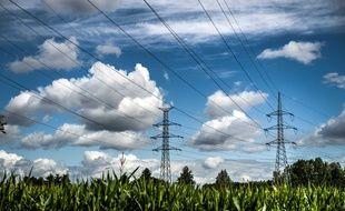 Des pylônes électriques. Illustration.