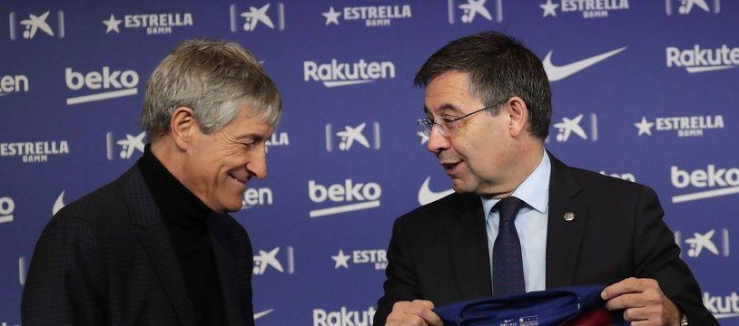 A droite, le président du Barça, Josep Maria Bartomeu