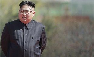 Kim Jong-un lors de l'inauguration du quartier de Ryomyong, le 13 avril 2017, en plein cœur de Pyongyang.