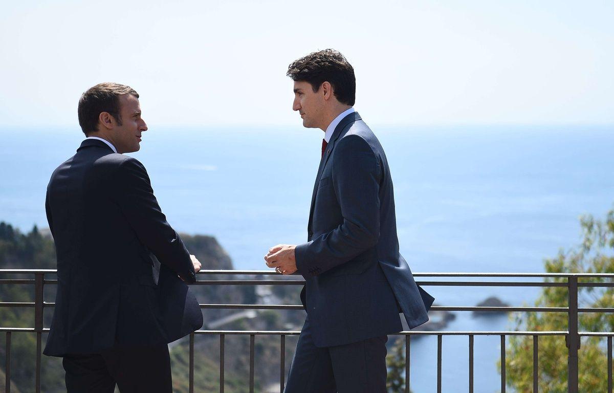 La première rencontre en Emmanuel Macron et Justin Trudeau le 26 mai 2017 en Sicile. – BLONDET-POOL/SIPA