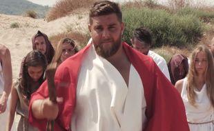 Xavier Chiocci en Moïse dans une publicité