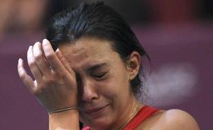 Marion Bartoli, en larmes, après sa défaite en finale de l'Open GDF-Suez, le 12 février 2012, à Paris.
