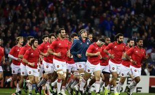 Le XV de France se prépare avant le test-match face aux Samoa, le 12 novembre 2016.