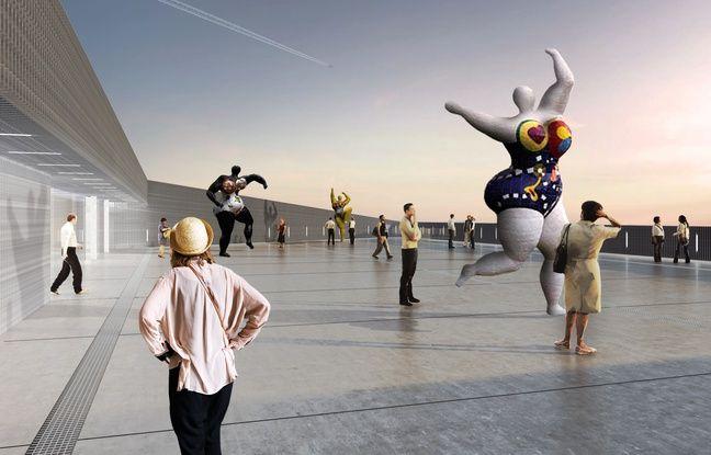 Une terrasse de 800m2 agrémentée d'oeuvres sera ouverte au public sur le toit de la future MECA (Maison de l'économie créative et de la culture) en Aquitaine