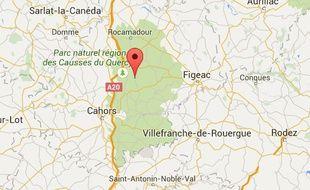 Localisation de Caniac-du-Causse, dans le Lot.