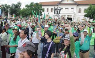 Manifestation contre le projet de construction de logements de luxe sur le parc naturel de Doi Suthep à Chiang Mai le dimanche 29 avril 2018.