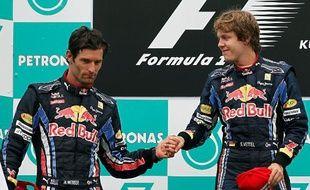 Sebastian Vettel (à droite) et Mark Webber ont pris les deux premières places du Grand Prix de Malaisie, le 4 avril 2010