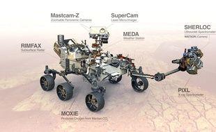 Croquis du rover Perseverance qui pourrait être déposé à la surface de Mars en février 2021.