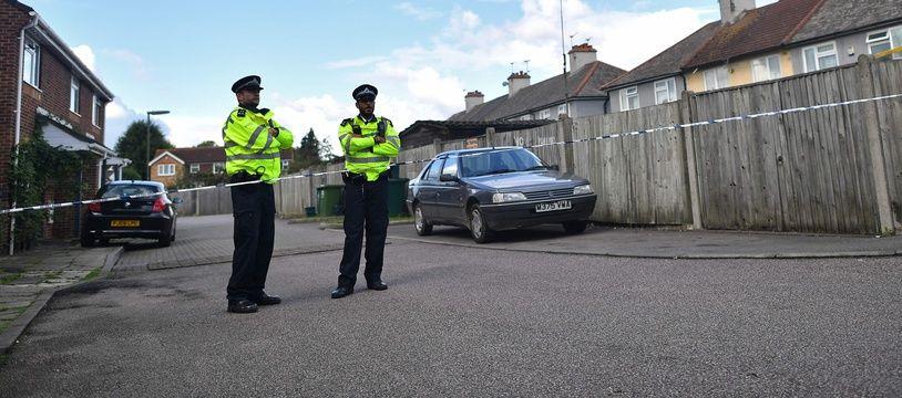 Illustration de policiers britanniques à Londres.