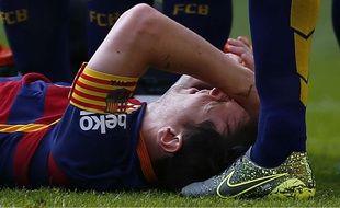 Le joueur de Barcelone Lionel Messi s'est blessé contre Las Palmas, le 26 septembre 2015.