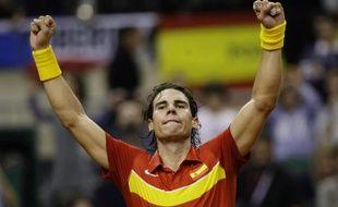 Le tennisman Rafael Nadal, lors de sa victoire face à Tomas Berdych en finale de la Coupe Davis, le 4 décembre 2009.