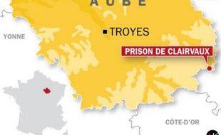 Carte de localisation de la prison de Clairvaux (Aube) suite à la prise en otage d'un surveillant.