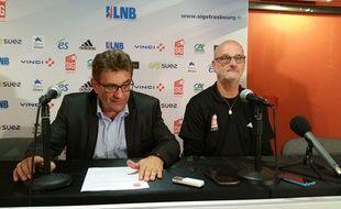 Présentation à la SIG de Henrik Dettmann, nouveau coach du club de basket de Strasbourg, lundi 27 juin.