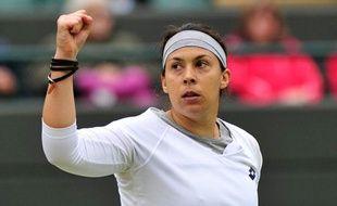 La Française Marion Bartoli lors de sa victoire contre Sloane Stephens le 2 juin 2013, en quart de finale de Wimbledon.