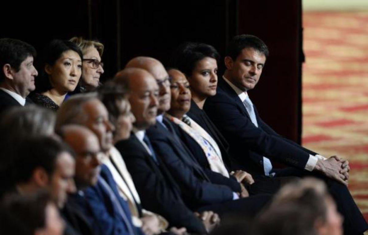 Le gouvernement de Manuel Valls dans la salle des fêtes de l'Elysée lors de la conférence de presse de François Hollande le 5 février 2015 à Paris – Alain Jocard AFP