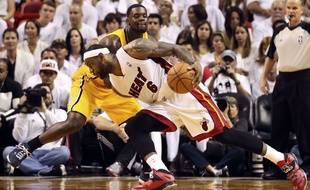 LeBron James lors du match entre Miami et Indiana le 30 mai 2014.