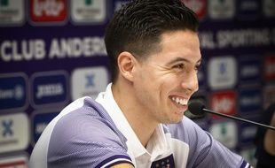 Samir Nasri lors de sa conférence de presse de présentation à Anderlecht, le 9 juillet 2019.