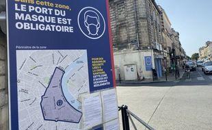 Affiche rappelant l'obligation de port du masque à Bordeaux.