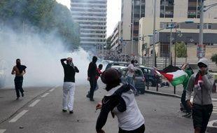 Heurts entre policiers et manifestants pro-Palestiniens à Sarcelles, en région parisienne, le 20 juillet 2014