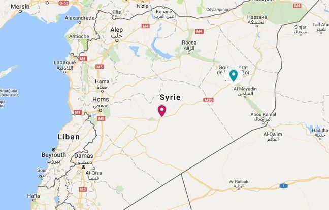 Carte de localisations de Palmyre (en rouge) et de Deir Ez Zor (en vert).