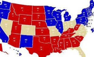 En bleu les Etats sûrs pour les démocrates, en rouge pour les républicains, en beige, les fameux swing states