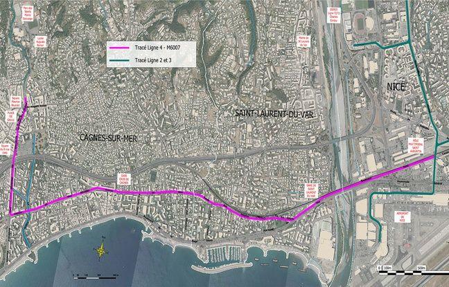 Le tracé de la future ligne 4 de tramway, entre Nice et Cagnes-sur-Mer
