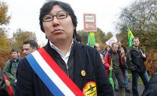 Jean-Vincent Placé, sénateur EELV à la manifestation contre le projet d'aéroport de Notre-Dame-des-Landes, le 17 novembre 2012.
