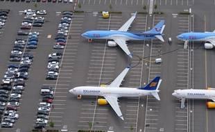 Des Boeing 737 MAX stockés sur un parking à Seattle, aux Etats-Unis en attendant de pouvoir voler.
