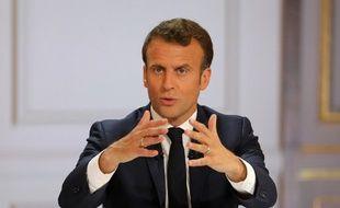 Emmanuel Macron lors de son discours à l'issue du Grand débat national, à l'Élysée, le 25 avril 2019.