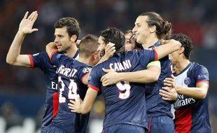 Les joueurs parisiens, lors de leur victoire en Ligue des champions contre Benfica, le 2 octobre 2013 au Parc des Princes.