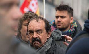Le secrétaire général de la CGT Philippe Martinez lors d'une manifestation le 22 mars 2018.