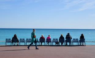 Le samedi 13 mars 2021 sur la promenade des Anglais, à Nice