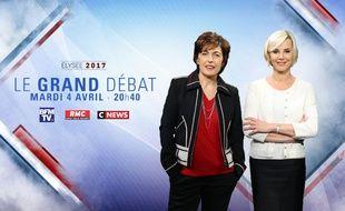 Visuel de présentation du débat du 4 avril 2017 entre les 11 candidats au premier tour de l'élection présidentielle diffusé sur BFMTV et CNews.