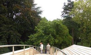 Lyon, le 27 août 2014. Depuis quelques semaines, le parc de la Passerelle, nouvel ecrin lyonnais, permet de relier le 5e aux 9e et de cheminer sur une grande partie de l'arrondisssement a travers des promenades, des prairies natures et sous-bois.