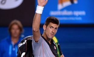 Le Serbe Novak Djokovic le 21 janvier 2014 à Melbourne après sa défaite contre Stanislas Wawrinka en quart de finale de l'Open d'Australie.