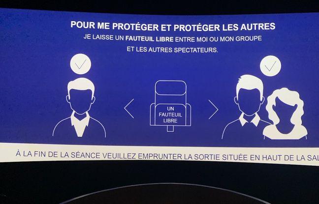 Panneau sur les règles de sécurité à respecter à l'UGC Ciné Cité Les Halles le lundi 22 juin 2020.